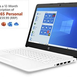 HP Stream 14-cm0042na 14 Inch Laptop, White (AMD A4-9125 Dual Core, 4 GB RAM, 64 GB eMMC, 1 TB OneDrive and Office 365, 1 Year Subscription Included, Windows 10 Home)