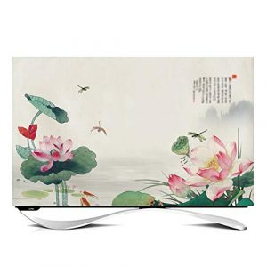 "ZHAOFENGE-maotan TV Cover 24"" - 65"" Indoor TV Display Protector Super soft velvet fabric for Flat Screen Curved Screen Smart TVs-lotus decoration(Size:40inch,Color:D)"