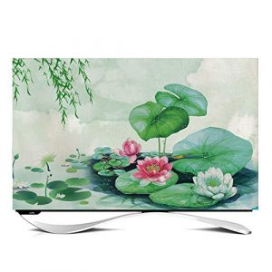 "ZHAOFENGE-maotan TV Cover 24"" - 65"" Indoor TV Display Protector Super soft velvet fabric for Flat Screen Curved Screen Smart TVs-lotus decoration(Size:45inch,Color:C)"