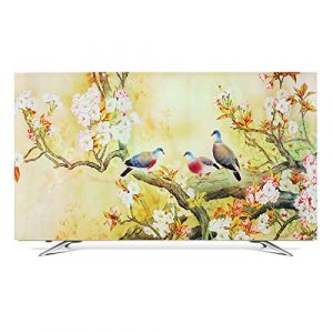 "ZHAOFENGE-maotan Monitor Cover Fabric TV Display Protector Ink Landscape 3D Printing for Flat Screen TVs Smart TVs 32"" - 70"" Inch (Color:Yellow,Size:37/39inch)"